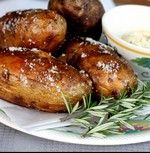 salt baked potatoes with garlic and rosemary -- not a microwave in sight.  Great! worked for sweet potatoes too, but not together, (different timing)