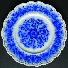 Doris by Grindley Description: BLUE FLOWERS & SCROLLS, EMBOSSED, GOLD RING