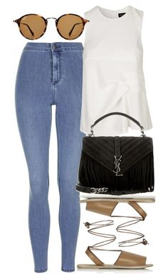 """Untitled #4612"" by rachellouisewilliamson ❤ liked on Polyvore featuring Topshop, Yves Saint Laurent and Ray-Ban"