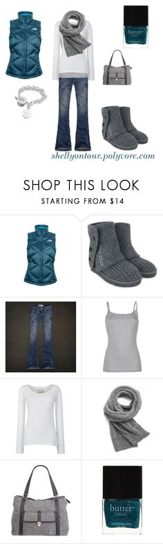 """""""Outfit"""" by shellyontour ❤ liked on Polyvore featuring The North Face, UGG Australia, Hollister Co., Fat Face, Closed, Hurley, Butter London and Tiffany & Co."""