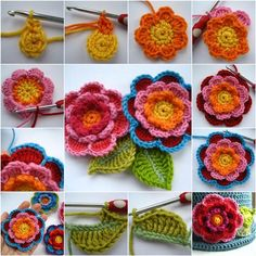 How to DIY Beautiful Crochet Layered Flowers with Leaves | iCreativeIdeas.com Like Us on Facebook ==> https://www.facebook.com/icreativeideas