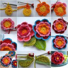 Jak DIY Piękne kwiaty warstwowej szydełka z liśćmi