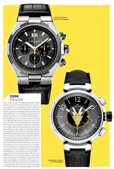 """""""Code couleur"""" :  Vacheron Constantin, Overseas Chronographe. -  Louis Vuitton, Tambour VVV Chronographe."""