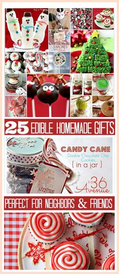 25 ADORABLE Homemade Christmas Edible Gifts... So yummy and cute. the36thavenue.com: