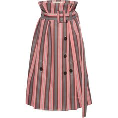 Marni Paper Bag Waist Striped Skirt (13,445 CNY) ❤ liked on Polyvore featuring skirts, marni, pink, red striped skirt, red midi skirt, paper skirt, striped midi skirt and tie belt