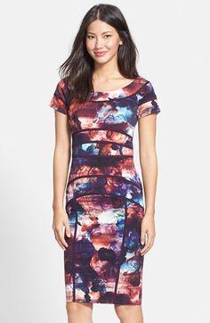 Nicole Miller 'Rusty Rose' Print Stretch Body-Con Dress