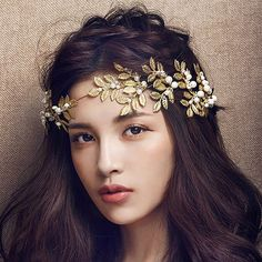 Baroque Jewelry 2016 New Vintage Gold Leaf Pearl Headband Hair Accessories Bridal Headwear Party Wedding Hair Jewelry For Brides