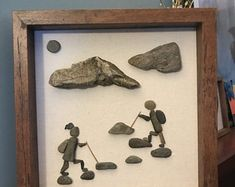 Etsy :: Your place to buy and sell all things handmade Stone Crafts, Rock Crafts, Arts And Crafts, Pebble Pictures, Stone Pictures, Beach Rock Art, Art Wall Kids, Wall Art, Inspirational Rocks