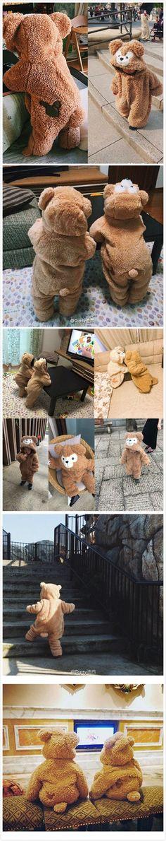 Cute Bear Fleece Baby Romper Winter Warm For 3-24 months #babyfashionboy