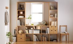 A clever way to add some storage to a weird window or corner - from MUJI Minimalist Bedroom, Minimalist Home, Estilo Muji, Muji Haus, Muji Storage, Muji Style, Japanese Interior, Style At Home, House Rooms