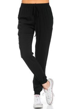 "Super cute and simple light weight jogger pants. This super cute black joggers pants features side pockets. Drawstring is ""not"" adjustable but the waist band is stretchy for comfortable and nice fit."