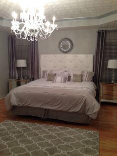 Silver Metallic trim! White Headboard! Grey! Mirrored nightstands! Love it!