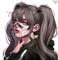 Dark Anime Girl, Pretty Anime Girl, Cool Anime Girl, Kawaii Anime Girl, Anime Art Girl, Manga Art, Anime Girls, Digital Art Anime, Digital Art Girl