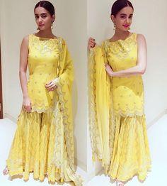 Indian Party Wear, Indian Wear, Pakistani Outfits, Indian Outfits, Gharara Designs, Indian Designer Suits, Pakistan Fashion, Desi Clothes, Indian Attire