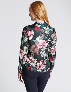 Easy Care Floral Satin Blouse | M&S
