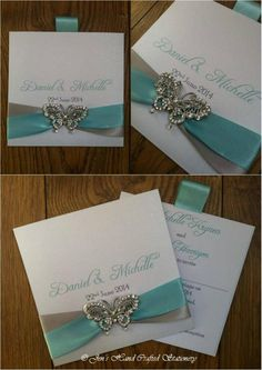Turquoise and silver grey wallet Wedding invitation with crystal butterfly  www.jenshandcraftedstationery.co.uk www.facebook.com/jenshandcraftedstationery
