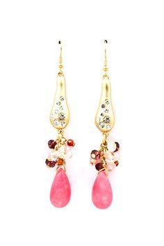 Pink drop Crystal Earrings : love it