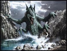 """Ceto ou Keto (em grego: Κητώ), na mitologia grega, é uma divindade primordial marinha filha do Pontos, o Mar, e de Gaia, a Terra[1]. O nome Cetus, que significa """"monstro"""", é como os antigos gregos denominavam as baleias, que para eles eram monstros marinhos. Ceto é a personificação dos perigos do mar. Ela era mais especificamente uma deusa das baleias, tubarões e monstros marinhos. Também tida como deusa dos horrores e formas estranhas, coloridas e exuberantes que o mar pode produzir e…"""