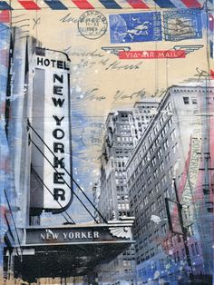 Hotel New Yorker - New York City mixed media painting on paper.
