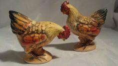 Lefton Salt & Pepper Shaker Set, Hand Painted Rooster & Chicken, Japan  #Lefton