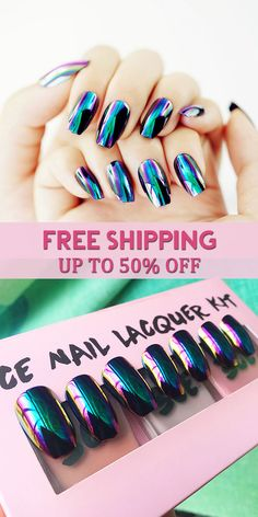 UP TO 50% OFF! Free Shipping! Mirror Fake Nail Chameleon Nail Tips For Nail Art Beauty Artificial Nails Manicure Tools. #makeup #beauty #nailart