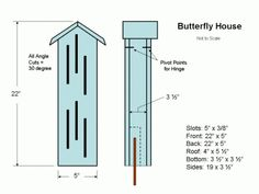 DIY plans with photos and step-by-step instructions for making a Butterfly House. Our version of the butterfly box is made from pieces of salvaged mahogany. Bird House Plans, Bird House Kits, Scrap Wood Projects, Garden Projects, Butterfly House, Diy Butterfly, Butterfly Feeder, How To Build Abs, Terrasse Design