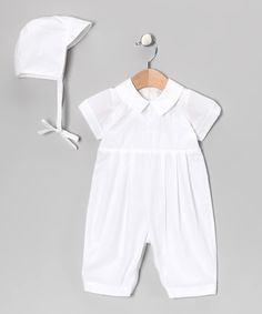 Fantaisie Kids White Embroidered Cross Romper & Bonnet - Infant by Fantaisie Kids #zulily #zulilyfinds