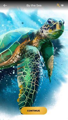 Sea Turtle Painting, Sea Turtle Art, Painting & Drawing, Watercolor Paintings, Sea Turtle Pictures, Beautiful Sea Creatures, Hawaiian Art, Colorful Animals, Am Meer