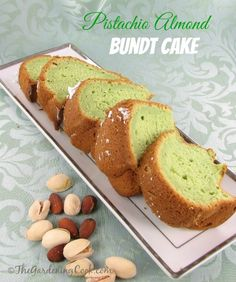 This Pistachio almond bundt cake has a splash of amaretto liqueur and tastes to great. Easy to make too.  Get the recipe http://thegardeningcook.com/pistachio-almond-cake-recipe/