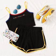Letter Embroidered Binding Trim Cami Top With Track Shorts - Source by Official_Romwe - Cute Lazy Outfits, Outfits For Teens, Pretty Outfits, Cool Outfits, Girls Fashion Clothes, Fashion Outfits, Clothes For Women, Womens Fashion, Riverdale Fashion