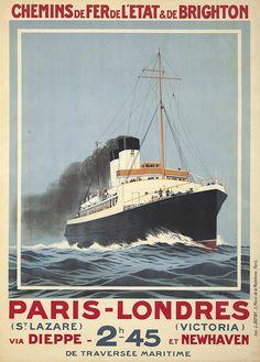 """chemins de fer de l'état et de brighton - Paris-Londres - paquebot """"Versailles"""" - 1920 -"""
