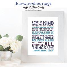 #Printable #Homedecor #InstantDownload #love #farmhouse #scrapbook #jesus #print #art #digital #bibleverse #christian #1corinthians13  #Wedding #Engagement #Marriage #family #gift
