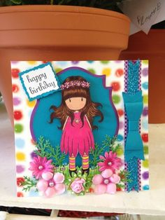 Made this card my friend/co-worker daughter birthday,image is from gorjuss girls @Wendy Felts Felts Werley-Williams.santoro-London.com,used copics markers for coloring.