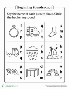 Kindergarten Phonics Worksheets: Review Beginning Sounds R, S and T