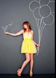 Photo by Shannon Greer – yellow dress. Photo by Shannon Greer – Chalk Photos, Draw On Photos, Chalk Photography, Creative Photography, Chalkboard Photography, Graffiti Wall Art, Mural Wall Art, Sidewalk Chalk Art, Photo Portrait