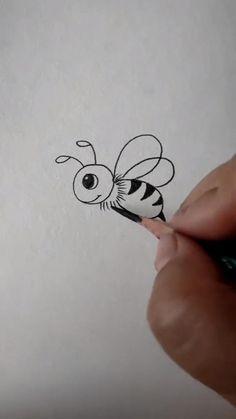 Easy Drawings For Kids, Art Drawings Sketches Simple, Pencil Art Drawings, Doodle Drawings, Drawing For Kids, Hand Art Kids, Baby Cartoon Drawing, Cute Doodle Art, Diy Canvas Art