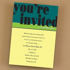 His Birthday Invitation printed with your wording. His Birthday - Invitation Item Number:EKH42PPD  by The Office Gal Carlson Craft
