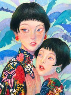 Stabilo pen and colored pencil portrait by Korean artist Zipcy. Pretty Art, Cute Art, Character Illustration, Illustration Art, Art Sketches, Art Drawings, Horse Drawings, Character Art, Character Design