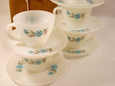 Fire King Milk Glass Cups and Saucers, Bonnie Blue Pattern