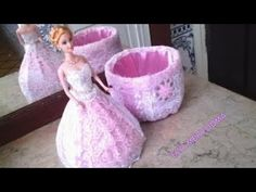 DIY Doll Dress: Bath Tissue Ribbon and Plastic Bottle Doll Crafts, Diy Doll, New Dolls, Barbie Dolls, Diy Arts And Crafts, Crafts For Kids, Crochet Barbie Patterns, Sweet 16 Centerpieces, Doll Painting