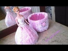طريقة صنع علبة على شكل دمية باربي فقط بقارورة و شرائط الستان DIY Making a Doll with Bottle - YouTube