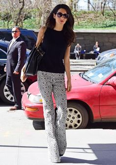 "Amal Clooney puts the ""flair"" in flared pants."