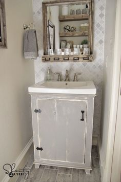 DIY Bathroom Vanity Shanty2Chic - I super hate the finish, but the plans look very simple