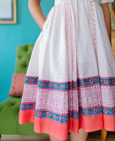 Pink and White Floral Hand Block Printed Fit & Flare Dress Frock Fashion, Boho Fashion, Fashion Outfits, Simple Kurta Designs, Casual Frocks, Kurta Patterns, Recycled Dress, Frock For Women, Boho Style Dresses