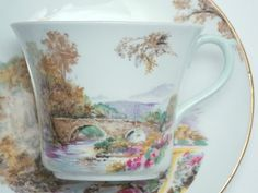 """Shelley Vintage Fine Bone China Tea Cup and Saucer Made in England """"Heather"""" Scenic Trees Bridge River Green Gold Trim~1930s"""