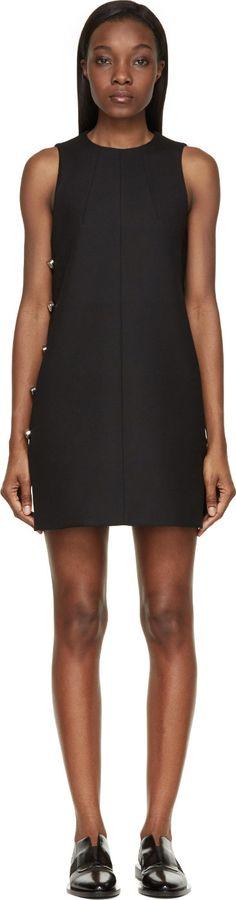 Paco Rabanne - Black Wool Twill Buttoned Sleeveless Dress