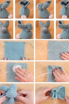 Knit a Bunny from a Square by Studio Knit! Celebrate Springtime with this little bunny rabbit easily shaped from a simple knitted square. How to Knit an Easter Bunny from a Square with free Knitting Pattern and Video Tutorial by Studio Knit. Easy Knitting Patterns, Knitting For Kids, Free Knitting, Baby Knitting, Easter Crochet Patterns, Knitting Toys, Circular Knitting Needles, Knitting Stitches, Softies