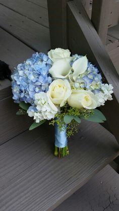 Blue hydrangea bridesmaid bouquets