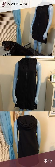 NWT Nike Zip Hoodie Dress Awesome NWT black vest dress! Let's make a deal!  If you're here to swap, I'm currently looking for Frye (5.5), Free People/For Love & Lemons/flowy/vintage dresses (0, 2, XS), Penfield (XS/S) or Lululemon pants (2, 4, XS), luxtreme or joggers/track pants with pockets 🙃 Nike Jackets & Coats Vests
