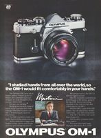 Olympus OM-1 Camera Designer Maitani 1980 Ad Picture